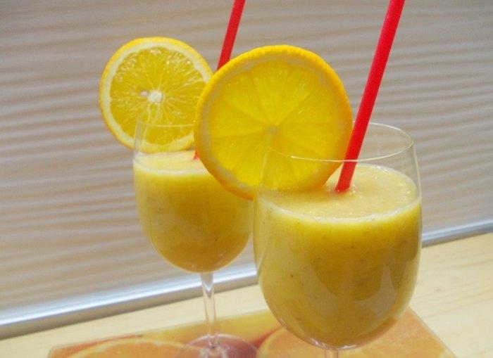 Апельсиново банановый смузи с имбирём3
