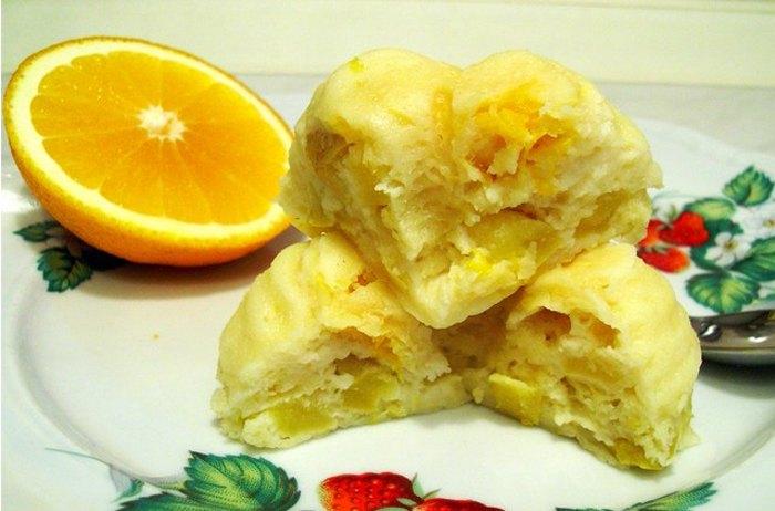 Запеканка творожная с яблоками и апельсинами в микроволновке4