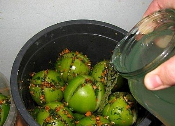 Квашеные зеленые помидоры5